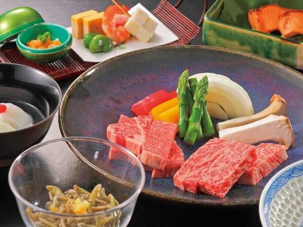 【選べる米沢牛会席】鉄板ステーキ選択時の一例。日本三大和牛の「米沢牛」を提携牧場から直送!