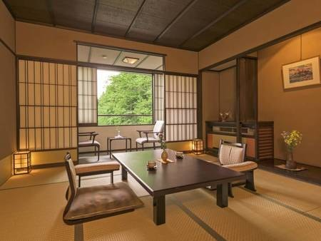 【禁煙和室/写真一例】40㎡以上の和室へご案内。季節の移り変わりを楽しめる白布の山並みを望む