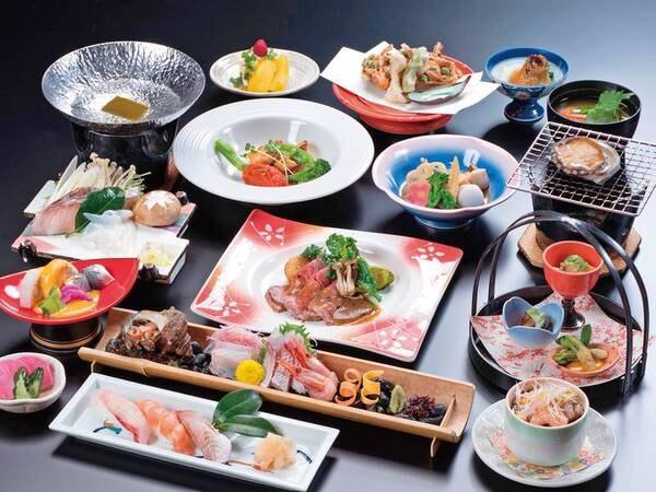 【乙姫膳/例】地魚のポワレ、鮑、握りずしに加えローストビーフも入った和洋折衷会席膳