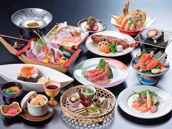 【龍宮膳/例】舟盛、枚方三元豚と地魚のしゃぶしゃぶ、鮑、ズワイ蟹等(※お品書きは例)