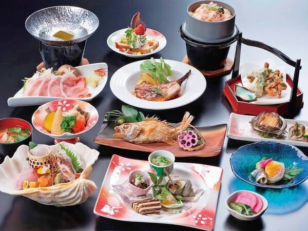 【庄内ブランド膳/例】ずわい蟹、鮑、のどぐろ、地魚5種盛など、豪華食材満載のグレードUPプラン!(お品書きは例)