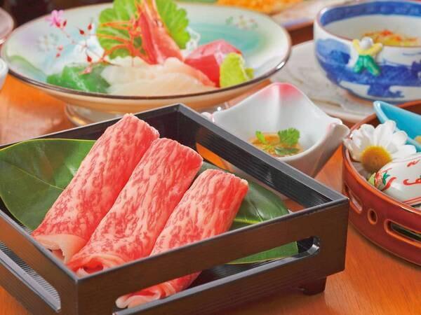 山形牛付き旬彩和膳一例 メインを山形牛にグレードアップ!すき焼き・しゃぶしゃぶより選択可