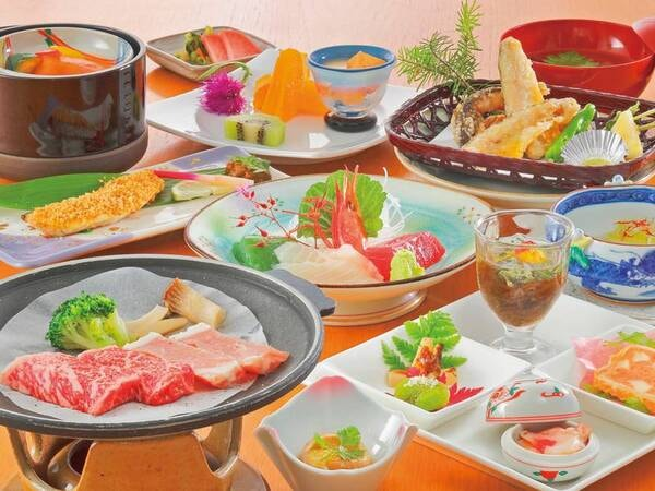 蔵王牛&庄内豚付き旬彩会席一例 「蔵王牛」「庄内豚」の陶板焼き付き。優しい味と華やかな彩りが人気の旬彩和膳をご用意!