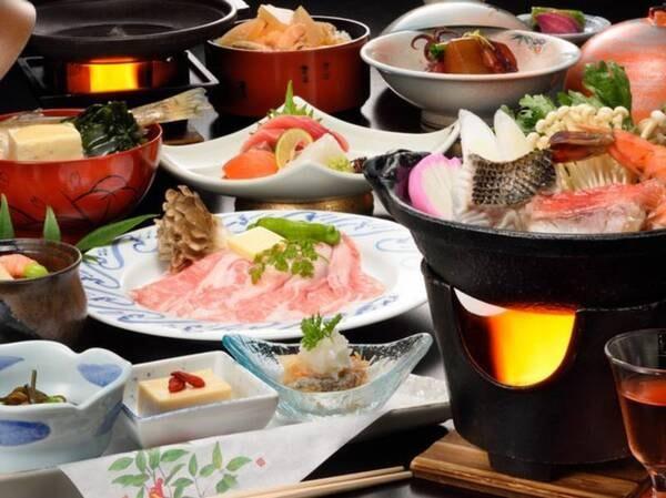 【季節の宴プラン/冬の一例】鱈と鮭と海老の海鮮寄せ鍋・豚トロ陶板焼きなど(2020年12月~2021年3月までの例)
