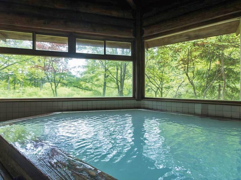 【丸太造りの天然温泉】乳白色の温泉に浸りながら自然を望めます