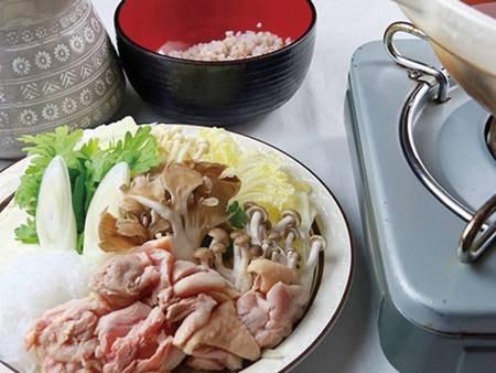 夕食一例:蔵王鍋(山形の地鶏)選択時