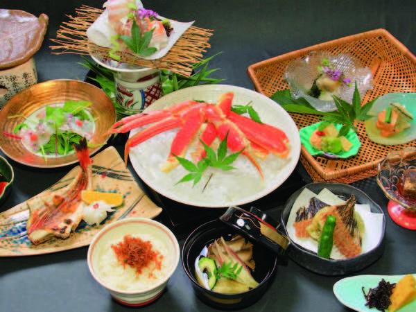 【ずわい蟹か和牛の網焼きプラン/例】ずわい蟹か和牛陶板焼きを選択!網焼きで堪能!