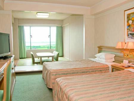 【和洋室/例】セミダブルサイズのツインベッド+6畳和室のお部屋