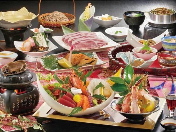 【タラバ蟹のお造り&活鮑踊り焼き会席/例】生タラバ蟹のお造りなどが付いたグレードアッププラン