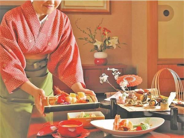 【朝夕お部屋食 月替わりの創作懐石/例】月ごとに献立が変わる、当館最高ランクの会席料理