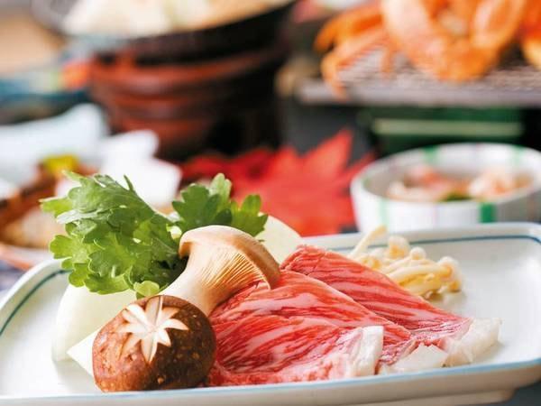 【浜茹でずわい蟹&霜降り牛ステーキ/例】お肉もお魚も味わえる贅沢プラン。