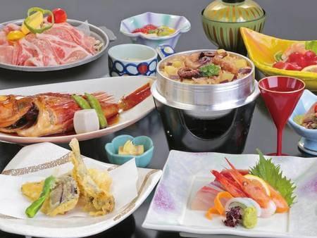 【夕食/例】旬魚の姿煮や海鮮鍋、お造りなど五浦の定番会席