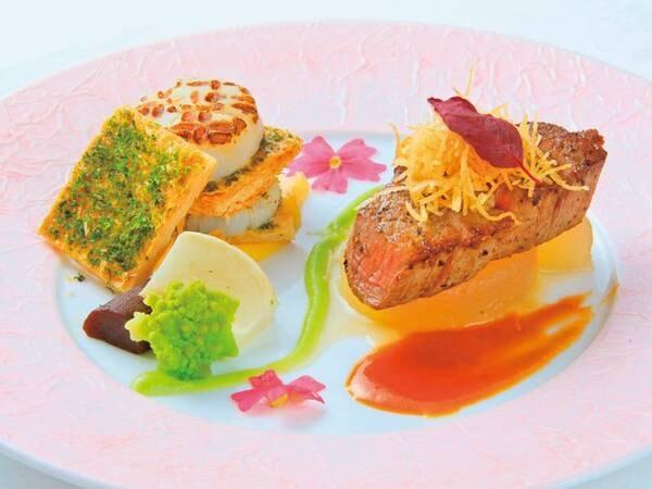 【特選和洋会席/一例】牛フィレ肉+帆立貝のポワレミルフィーユ仕立て