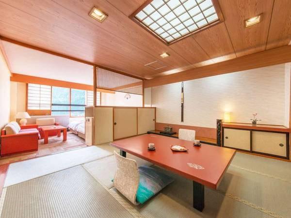 """【木楽館-和洋室-/例】""""和と洋""""という2種のお寛ぎ空間が叶う。ゆっくり語らいベットでゴロリ♪"""