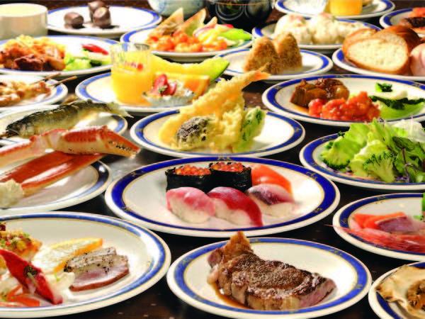 【60種バイキング/例】ずわい蟹釜蒸しや牛ステーキ、握り寿司など