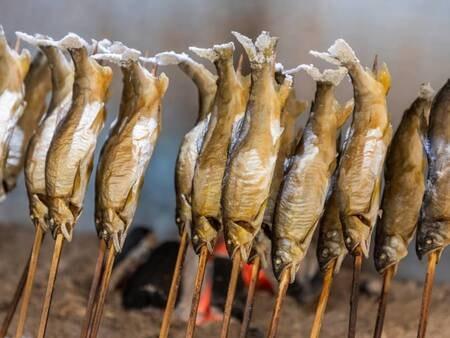 *【夕食バイキング(一例)】出来立ての鮎の塩焼き!アツアツをお召し上がりください♪