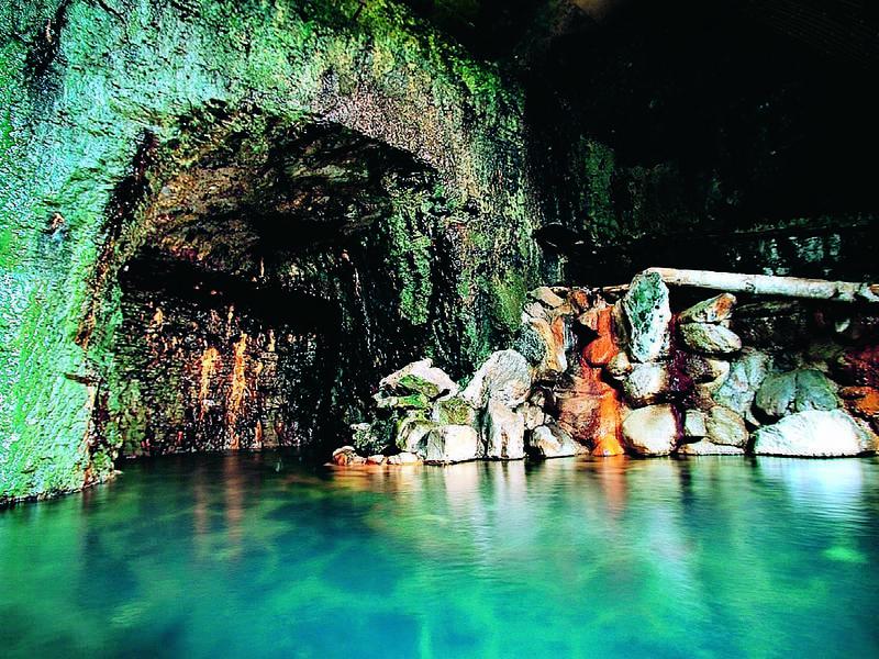 【洞窟風呂】くりぬいた岩肌から自噴するかけ流しの温泉は日本四大美人の湯認定の湯