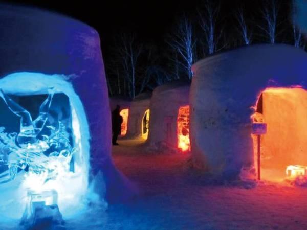 冬季には約500個のミニかまくらに灯りがともる幻想的なイベントも開催される