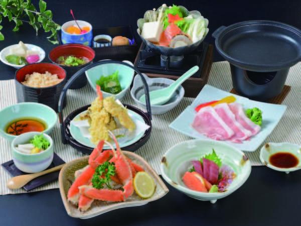 【ずわい蟹&那須三元豚陶板焼プラン/例】茹でずわい蟹の半肩など
