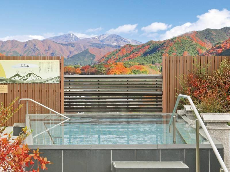 【空中庭園露天風呂】鬼怒川温泉の中で最も高い場所から望む絶景