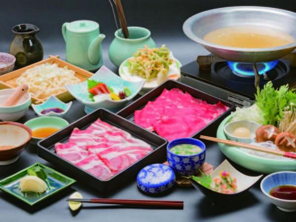 【料理/例】選べる夕食の特選牛&那須三元豚しゃぶしゃぶの例