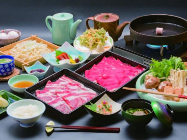 【料理/例】選べる夕食の特選牛&那須三元豚すき焼の例