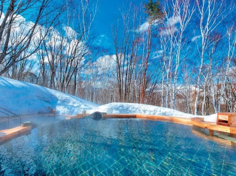 【露天風呂(冬)】大自然に囲まれた湯浴み。宿泊棟とは別棟。館外の移動有