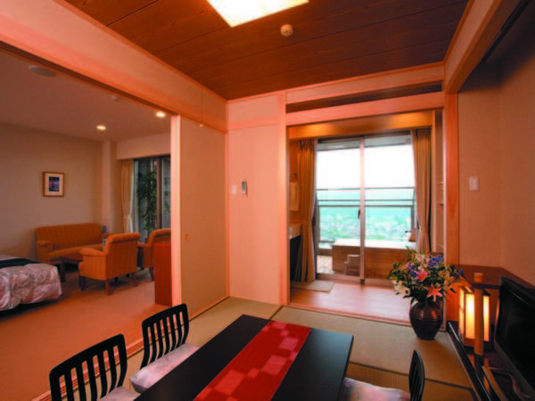 【露天風呂付き和洋室/例】和室6畳+ツインのお部屋に露天風呂付き