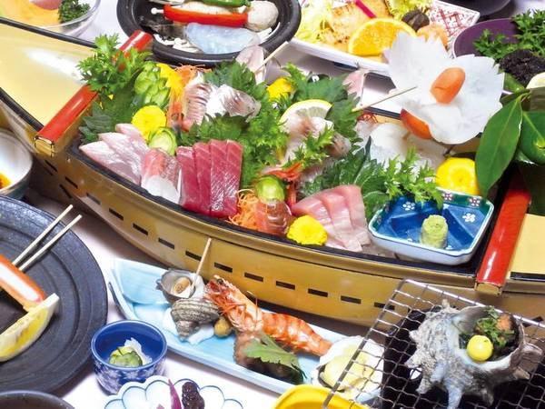 【50㎝舟盛付プラン/例】宿名物の豪快50cmの舟盛り付!