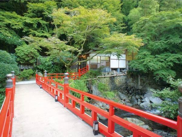 敷地内を流れる渓流にかかる橋を渡って、仙境野天風呂へ