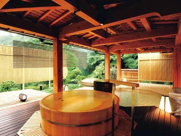 【いちの湯】香り豊かな檜で造られた樽風呂と石風呂の露天風呂