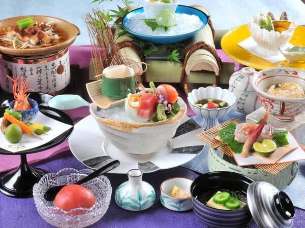 【[竹]季節の会席膳『華』プラン/例】渋の湯の味を愉しむ基本料理。見た目も楽しめる彩り豊かな品々