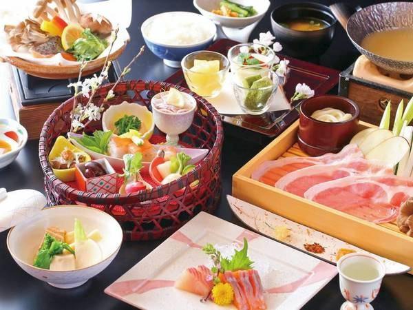【信州産味覚会席/例】信州安曇野豚鍋料理や塩田産コシヒカリ等