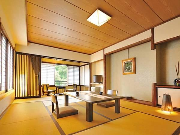 【12畳和室/例】ゆったりとした広縁付和室。山々を望む