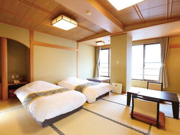 【客室/例】2名利用の場合はベッドをご用意※3~5名利用の場合は全員布団をご用意