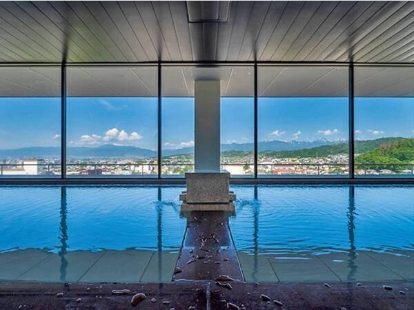【onsen hotel  OMOTO(旧 ホテルおもと)】大浴場から松本市街地の絶景を望む。はるか昔より脈々と湧き続ける浅間温泉
