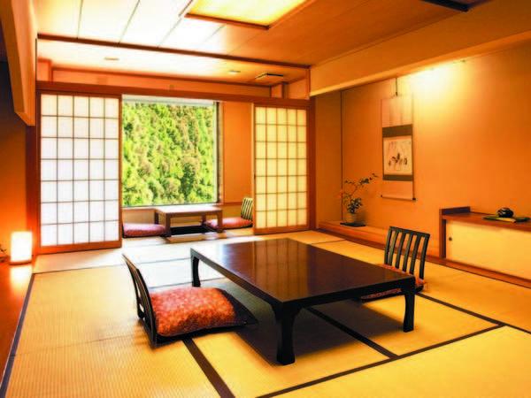 【新館和室/例】12畳+掘りごたつの広縁付の新館和室へご案内