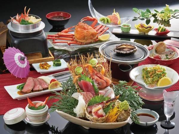 【3大味覚会席(あわび・紅ずわい蟹・たらば蟹)/例】3大味覚満喫