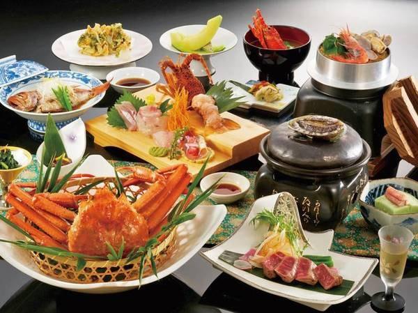 【鮑・牛ステーキ・紅ずわい蟹会席/例】5~8月の献立