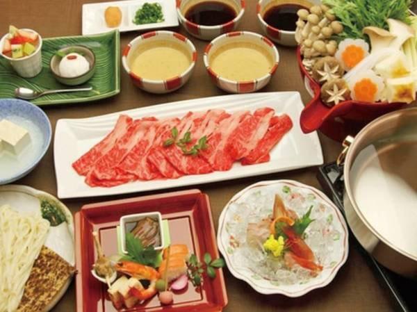 【県産牛しゃぶ&刺身会席/例】富山県産牛のしゃぶしゃぶと氷見のお刺身を楽しめる料理をご用意