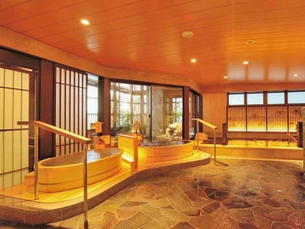 【大浴場】一人檜風呂・岩風呂・半露天・サウナ完備