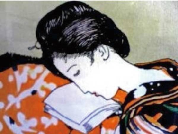 【夢二の絵】各フロアに夢二の画が飾られる。全部で85枚の絵が集う