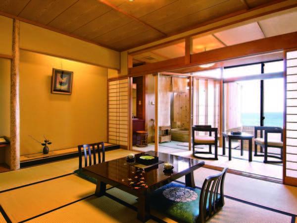 お部屋でとろとろ温泉を満喫できる半露天風呂付10畳和室へご案内/一例