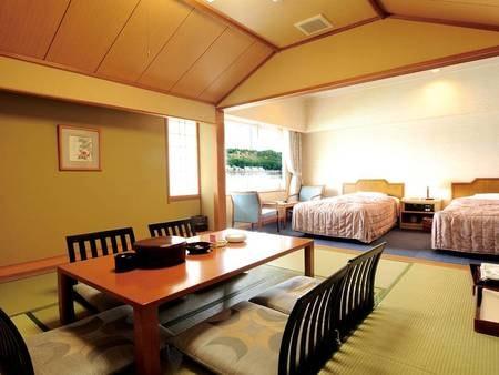 【和洋室/例】ツイン客室+和室8畳の広々客室にご宿泊