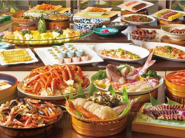 【蟹付き!季節替わりバイキング/4月~7月16日までの春の例】春の魚介海鮮焼きやビーフステーキなどが食べ放題!