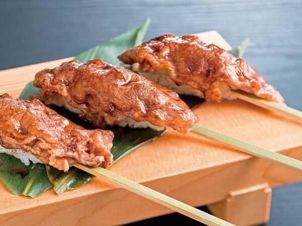 【6~8月夕食例】鉄板肉寿司