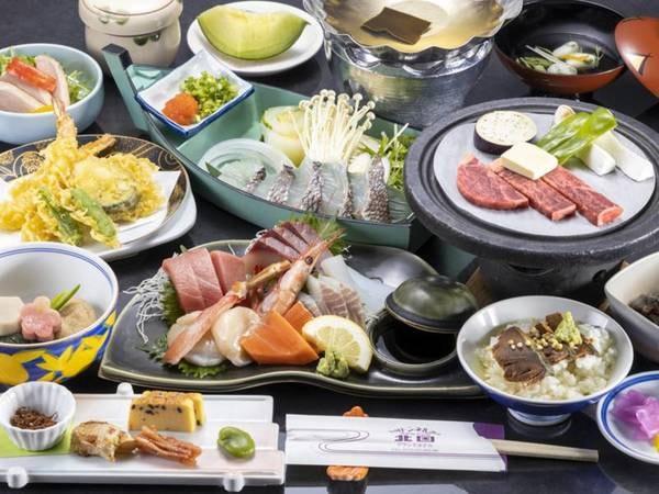 若狭湾四季彩会席「山茶花」一例。料理内容は季節により変更する場合がございます