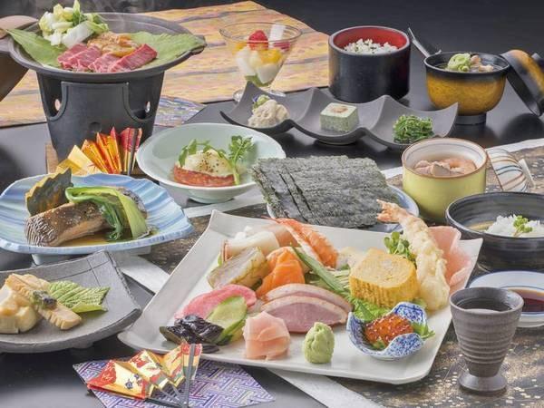 【夕食/例】山の幸会席にA5飛騨牛朴葉みそステーキ(100g)を追加した会席
