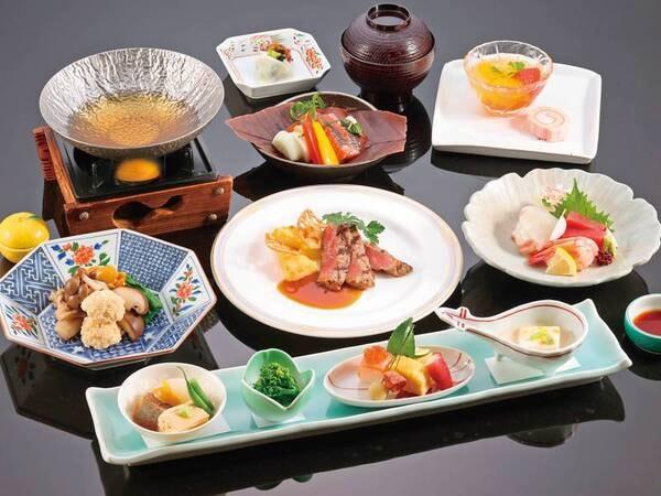 【和洋折衷会席/例】前菜・お造り・椀替り・焼肴・国産牛料理など和洋折衷の料理が並ぶ約8品