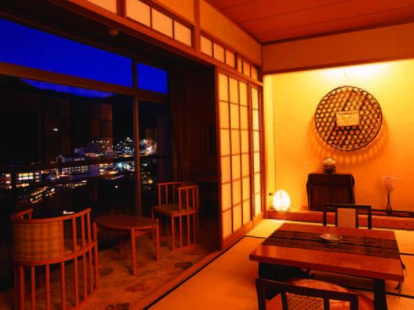 【客室】 全室川側の和室(10畳+広縁)へご案内/例